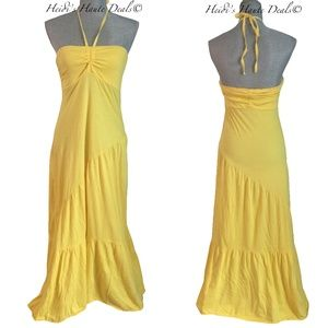 Michael Stars Yellow Cotton Tiered Maxi Dress O/S